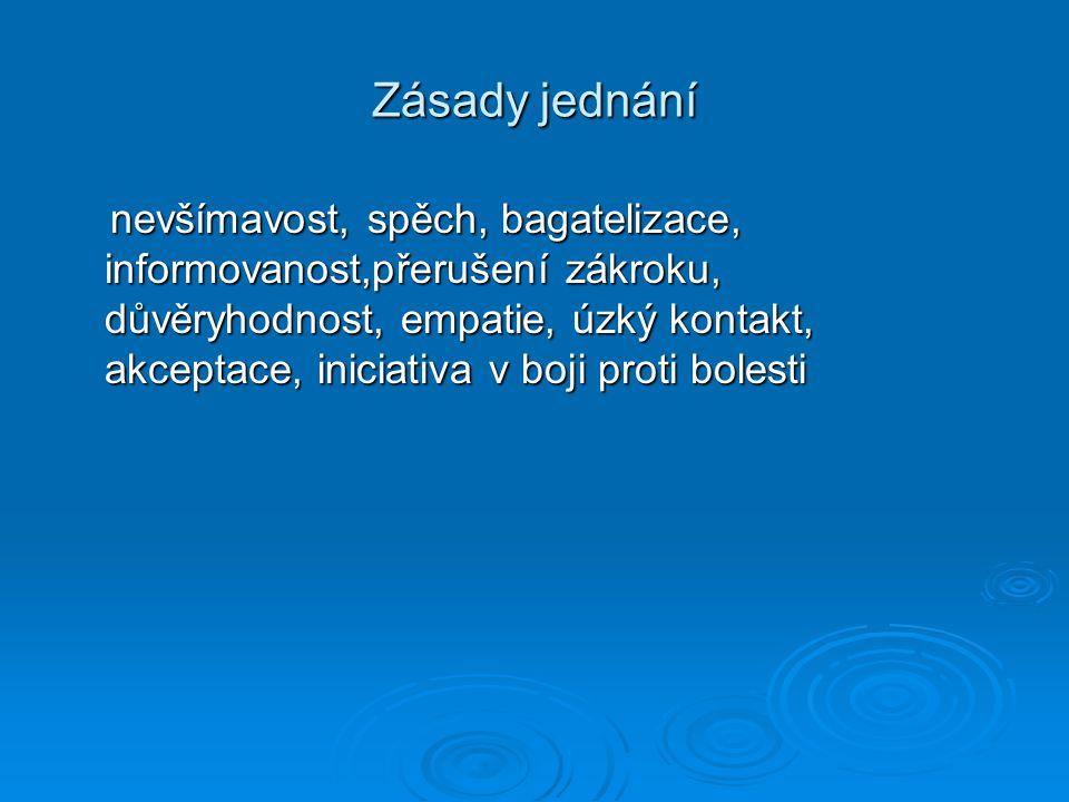 Zásady jednání nevšímavost, spěch, bagatelizace, informovanost,přerušení zákroku, důvěryhodnost, empatie, úzký kontakt, akceptace, iniciativa v boji p