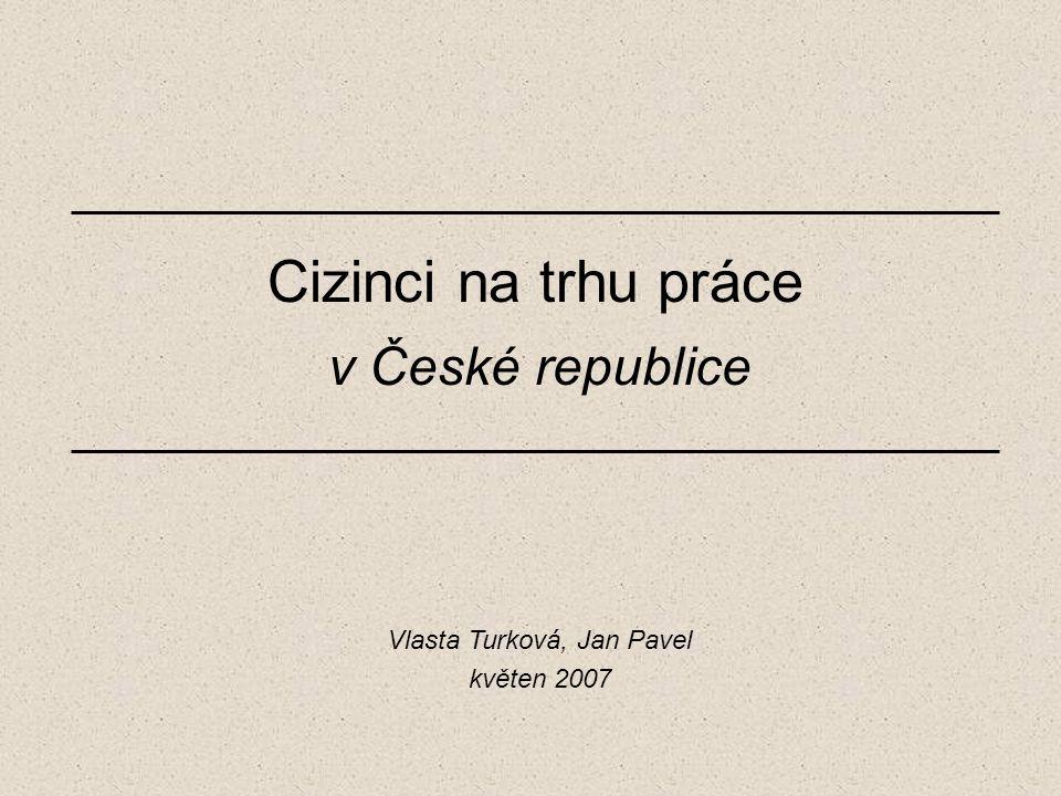 Cizinci na trhu práce v České republice Vlasta Turková, Jan Pavel květen 2007