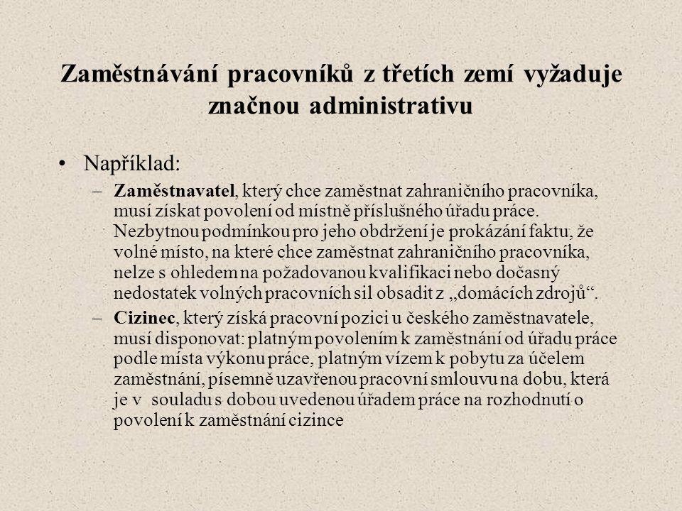 Zaměstnávání pracovníků z třetích zemí vyžaduje značnou administrativu •Například: –Zaměstnavatel, který chce zaměstnat zahraničního pracovníka, musí získat povolení od místně příslušného úřadu práce.