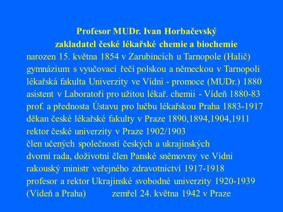 Profesor MUDr.Ivan Horbačevský zakladatel české lékařské chemie a biochemie narozen 15.