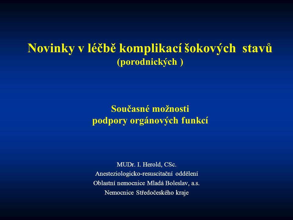 Novinky v léčbě komplikací šokových stavů (porodnických ) Současné možnosti podpory orgánových funkcí MUDr. I. Herold, CSc. Anesteziologicko-resuscita