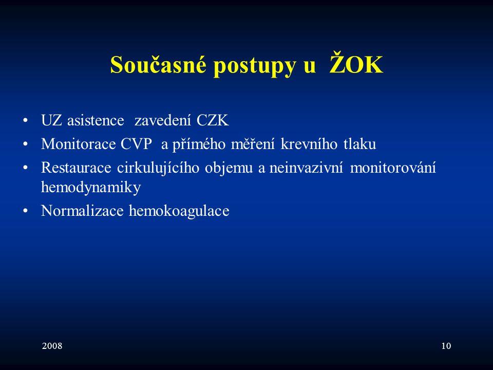 200810 Současné postupy u ŽOK •UZ asistence zavedení CZK •Monitorace CVP a přímého měření krevního tlaku •Restaurace cirkulujícího objemu a neinvazivn