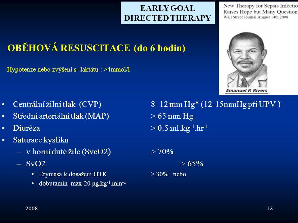 200812 OBĚHOVÁ RESUSCITACE (do 6 hodin) Hypotenze nebo zvýšení s- laktátu : >4mmol/l •Centrální žilní tlak (CVP) 8–12 mm Hg* (12-15mmHg při UPV ) •Stř