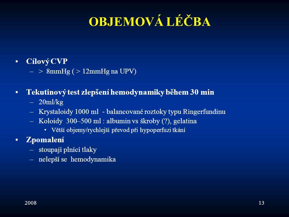 200813 OBJEMOVÁ LÉČBA •Cílový CVP –> 8mmHg ( > 12mmHg na UPV) •Tekutinový test zlepšení hemodynamiky během 30 min –20ml/kg –Krystaloidy 1000 ml - bala