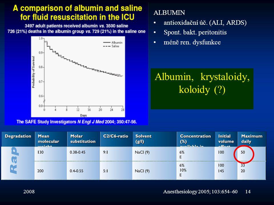200814 Albumin, krystaloidy, koloidy (?) ALBUMIN •antioxidační úč. (ALI, ARDS) •Spont. bakt. peritonitis •méně ren. dysfunkce Anesthesiology 2005; 103