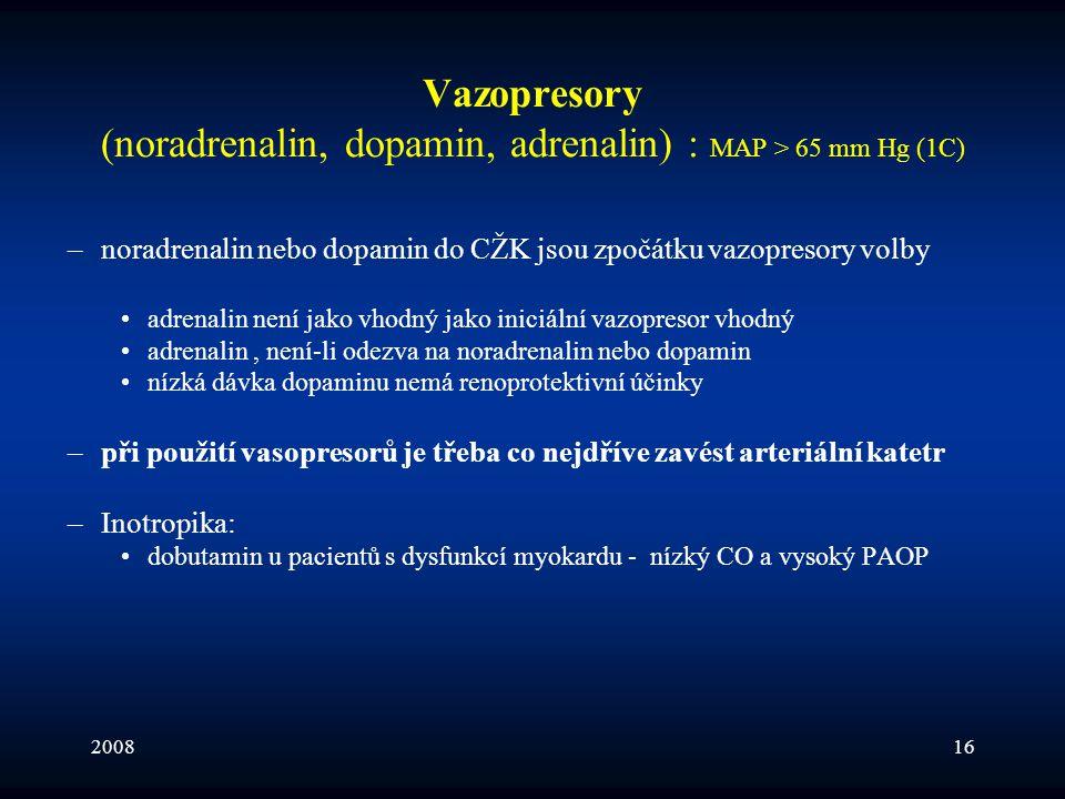 200816 Vazopresory (noradrenalin, dopamin, adrenalin) : MAP > 65 mm Hg (1C) –noradrenalin nebo dopamin do CŽK jsou zpočátku vazopresory volby •adrenal