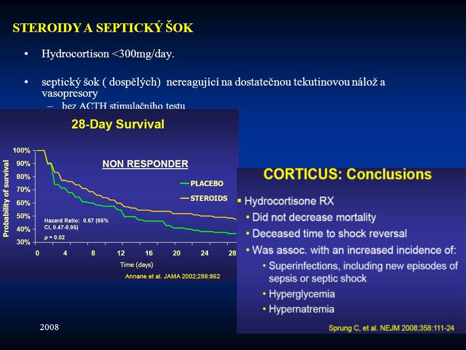 200817 STEROIDY A SEPTICKÝ ŠOK •Hydrocortison <300mg/day. •septický šok ( dospělých) nereagující na dostatečnou tekutinovou nálož a vasopresory –bez A