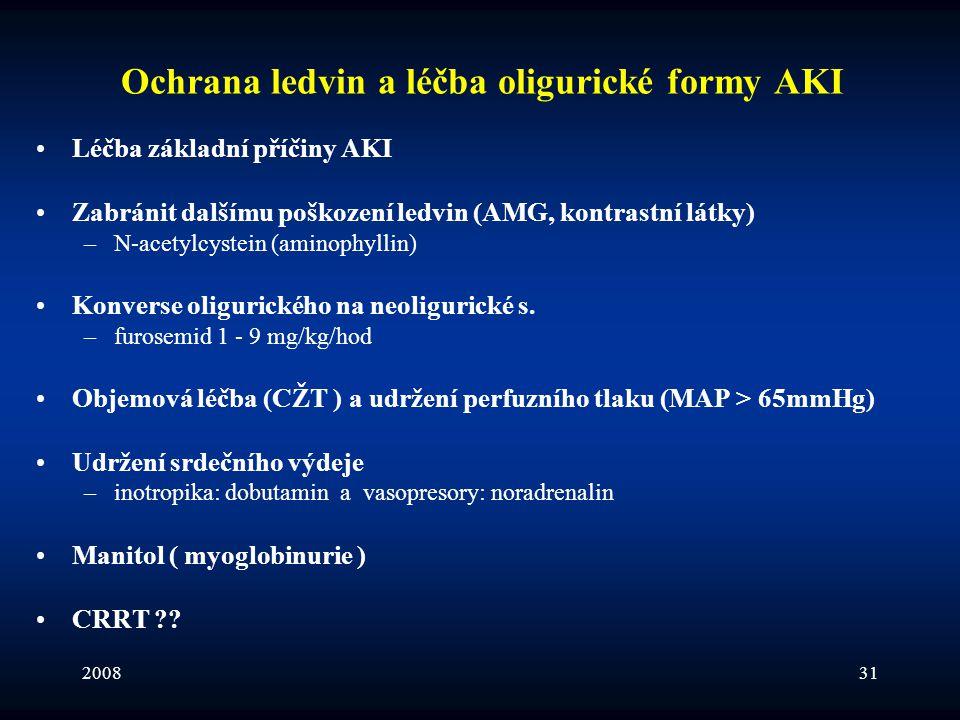 200831 Ochrana ledvin a léčba oligurické formy AKI •Léčba základní příčiny AKI •Zabránit dalšímu poškození ledvin (AMG, kontrastní látky) –N-acetylcys