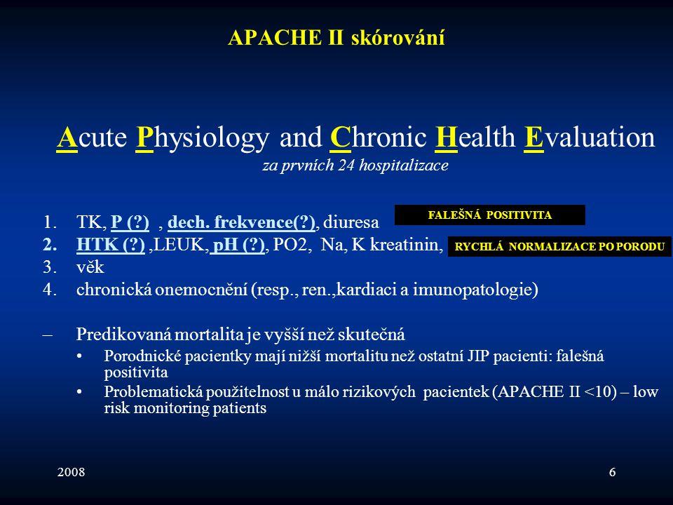 20086 APACHE II skórování Acute Physiology and Chronic Health Evaluation za prvních 24 hospitalizace 1.TK, P (?), dech. frekvence(?), diuresa 2.HTK (?