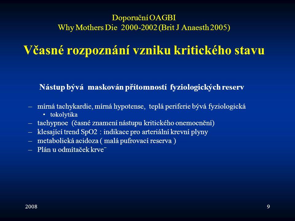 20089 Doporuční OAGBI Why Mothers Die 2000-2002 (Brit J Anaesth 2005) Včasné rozpoznání vzniku kritického stavu Nástup bývá maskován přítomností fyzio