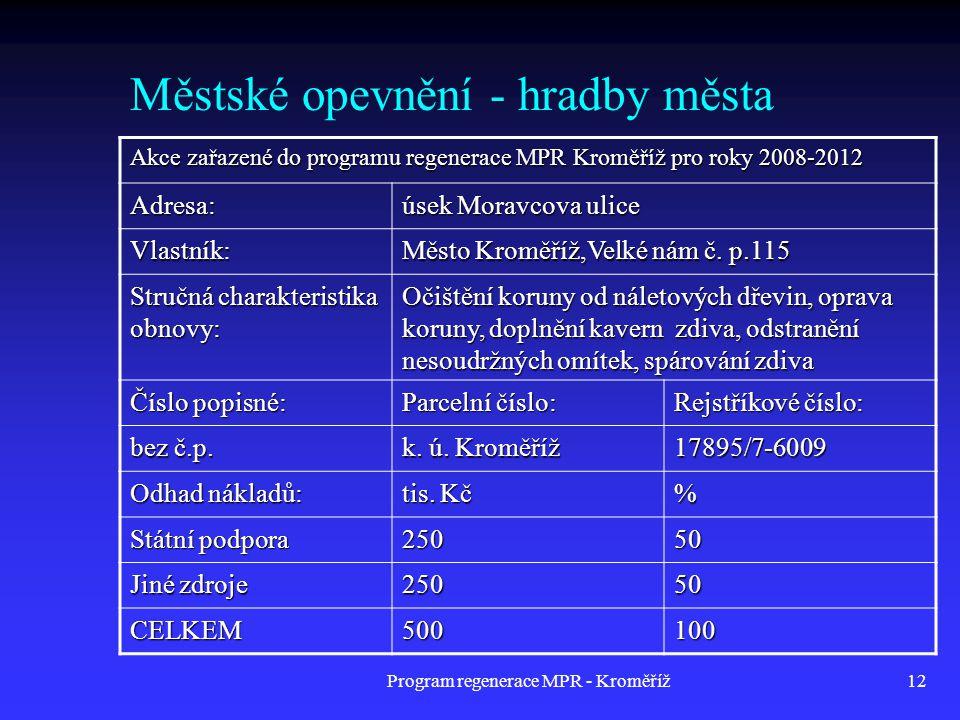 Program regenerace MPR - Kroměříž12 Městské opevnění - hradby města Akce zařazené do programu regenerace MPR Kroměříž pro roky 2008-2012 Adresa: úsek
