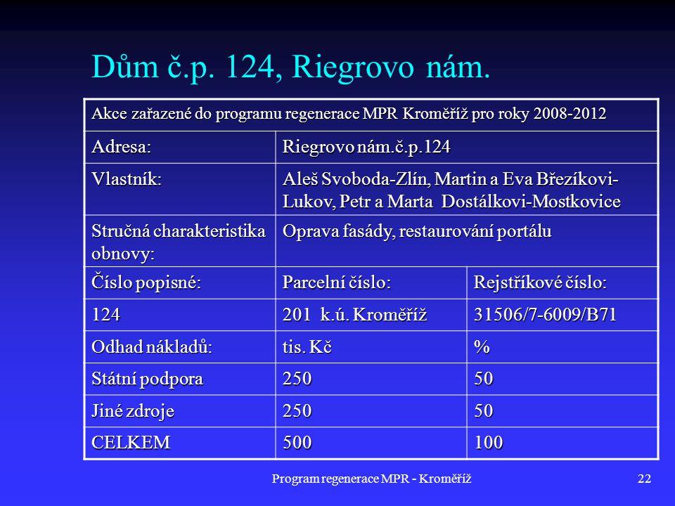 Program regenerace MPR - Kroměříž22 Dům č.p. 124, Riegrovo nám. Akce zařazené do programu regenerace MPR Kroměříž pro roky 2008-2012 Adresa: Riegrovo