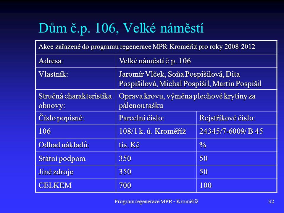 Program regenerace MPR - Kroměříž32 Dům č.p. 106, Velké náměstí Akce zařazené do programu regenerace MPR Kroměříž pro roky 2008-2012 Adresa: Velké nám