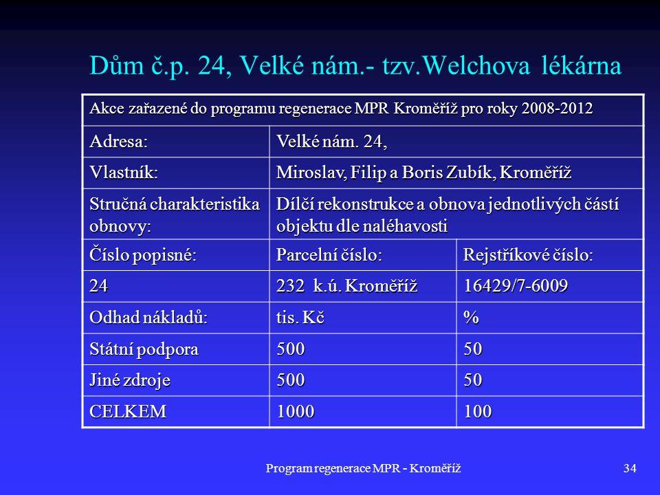 Program regenerace MPR - Kroměříž34 Dům č.p. 24, Velké nám.- tzv.Welchova lékárna Akce zařazené do programu regenerace MPR Kroměříž pro roky 2008-2012