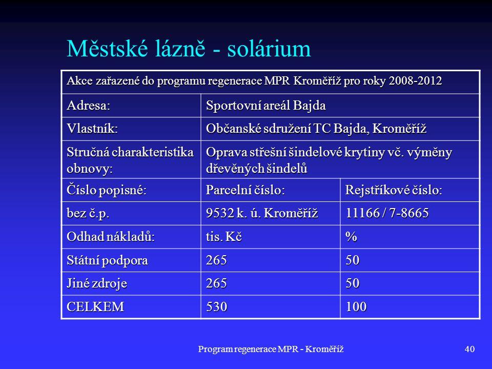 Program regenerace MPR - Kroměříž40 Městské lázně - solárium Akce zařazené do programu regenerace MPR Kroměříž pro roky 2008-2012 Adresa: Sportovní ar