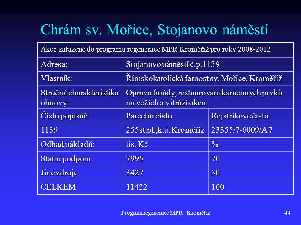 Program regenerace MPR - Kroměříž44 Chrám sv. Mořice, Stojanovo náměstí Akce zařazené do programu regenerace MPR Kroměříž pro roky 2008-2012 Adresa: S