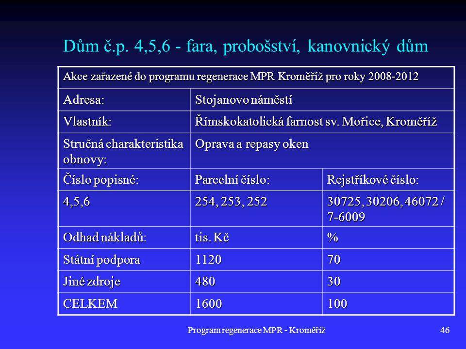 Program regenerace MPR - Kroměříž46 Dům č.p. 4,5,6 - fara, probošství, kanovnický dům Akce zařazené do programu regenerace MPR Kroměříž pro roky 2008-