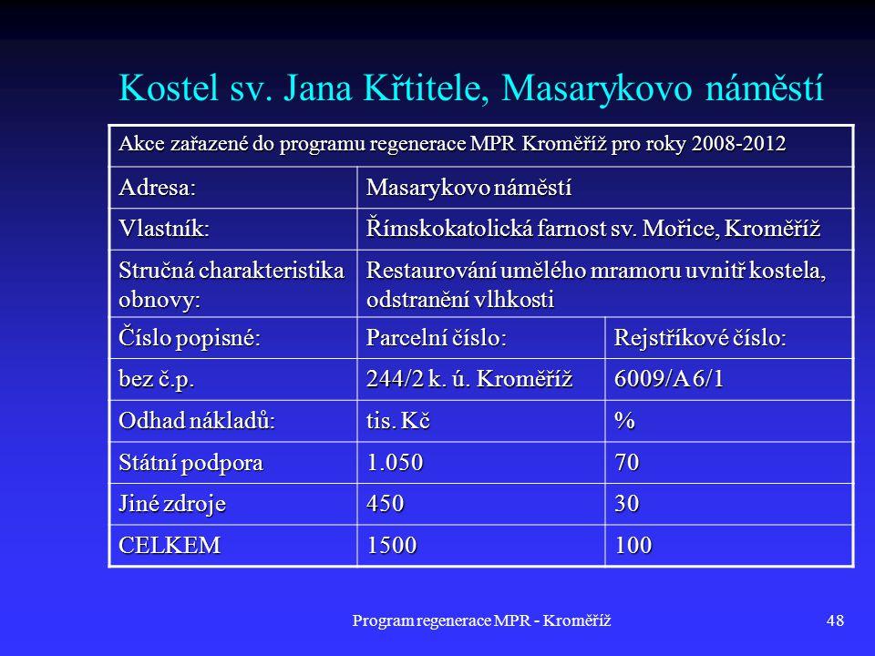Program regenerace MPR - Kroměříž48 Kostel sv. Jana Křtitele, Masarykovo náměstí Akce zařazené do programu regenerace MPR Kroměříž pro roky 2008-2012