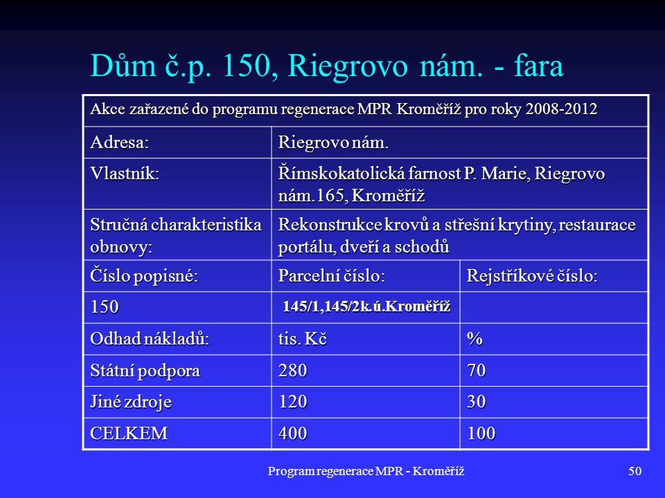 Program regenerace MPR - Kroměříž50 Dům č.p. 150, Riegrovo nám. - fara Akce zařazené do programu regenerace MPR Kroměříž pro roky 2008-2012 Adresa: Ri