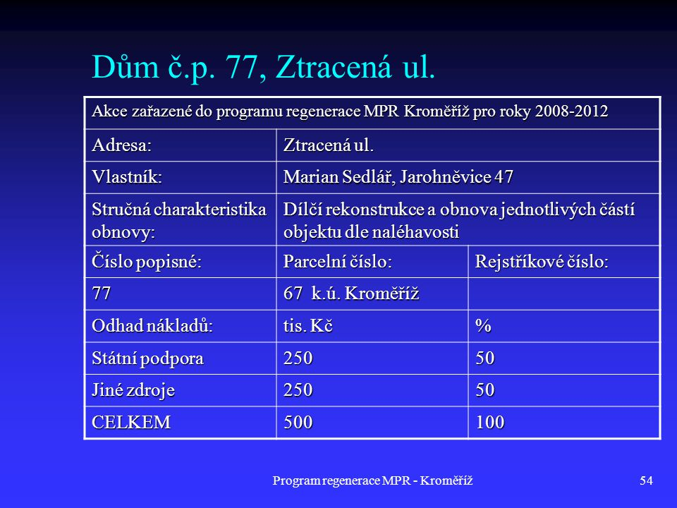 Program regenerace MPR - Kroměříž54 Dům č.p. 77, Ztracená ul. Akce zařazené do programu regenerace MPR Kroměříž pro roky 2008-2012 Adresa: Ztracená ul