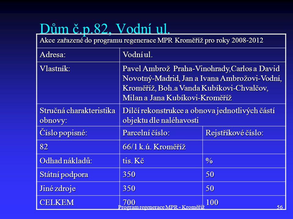 Program regenerace MPR - Kroměříž56 Dům č.p.82, Vodní ul. Akce zařazené do programu regenerace MPR Kroměříž pro roky 2008-2012 Adresa: Vodní ul. Vlast