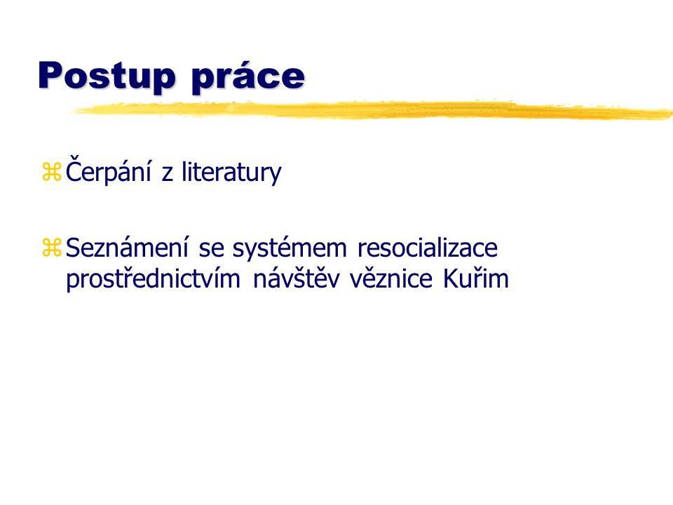 Postup práce zČerpání z literatury zSeznámení se systémem resocializace prostřednictvím návštěv věznice Kuřim