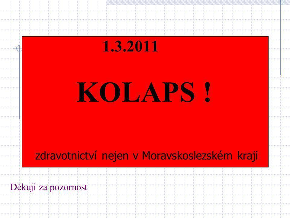 Děkuji za pozornost 1.3.2011 KOLAPS ! zdravotnictví nejen v Moravskoslezském kraji