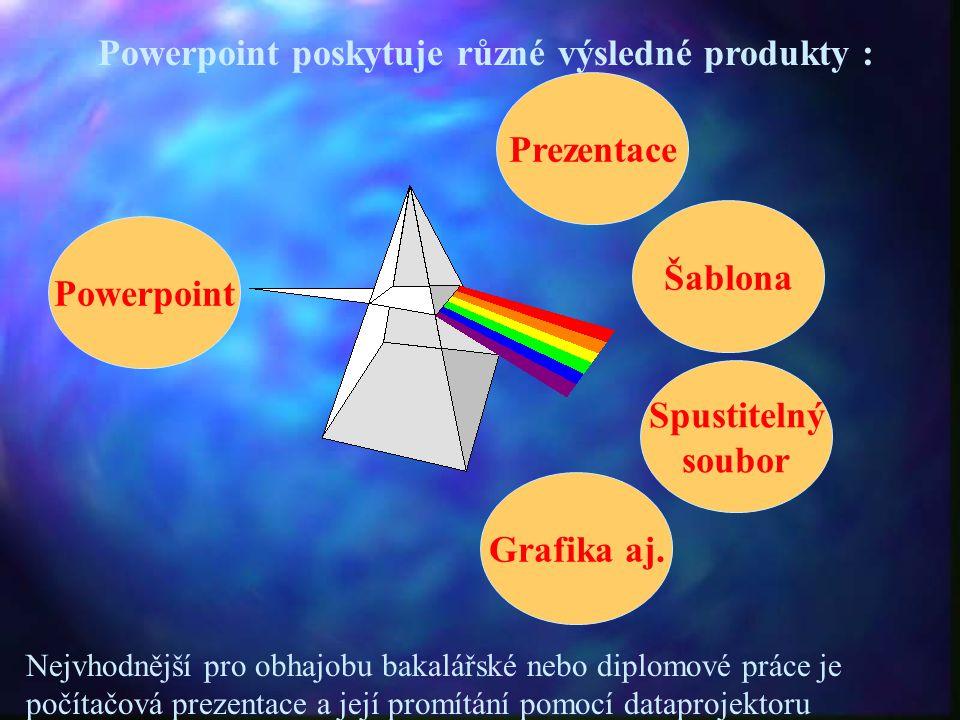 Powerpoint poskytuje různé výsledné produkty : Prezentace Powerpoint Šablona Spustitelný soubor Grafika aj. Nejvhodnější pro obhajobu bakalářské nebo