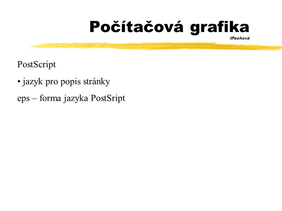 Počítačová grafika IPechová PostScript • jazyk pro popis stránky eps – forma jazyka PostSript
