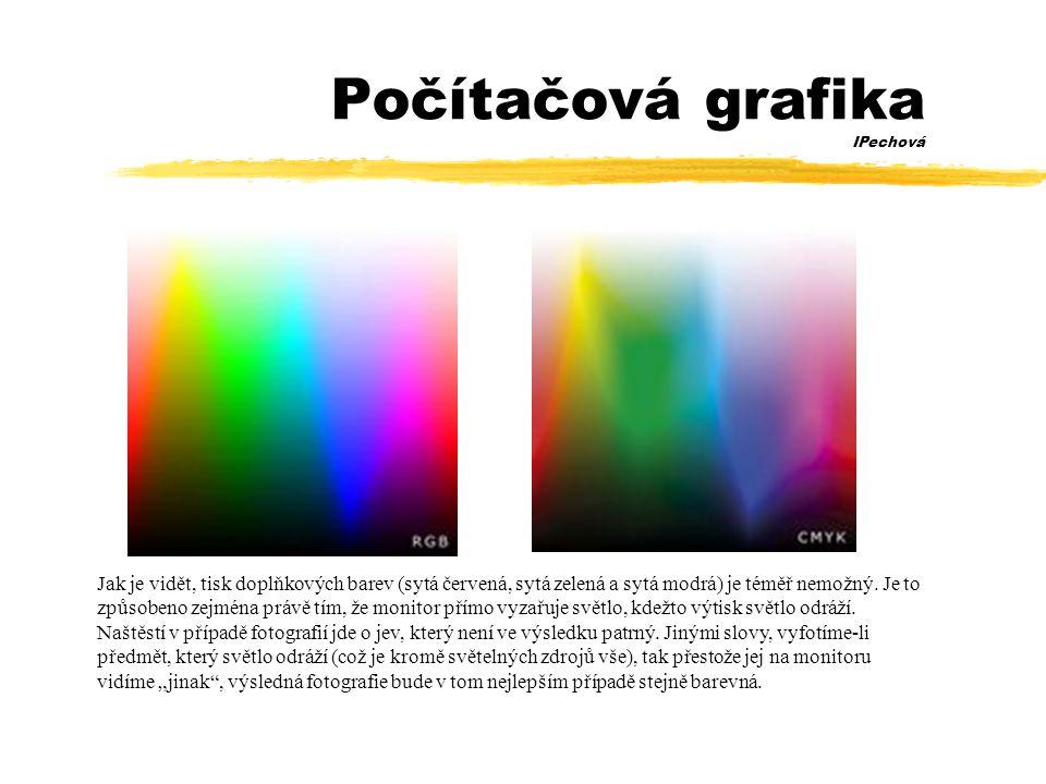 Počítačová grafika IPechová Jak je vidět, tisk doplňkových barev (sytá červená, sytá zelená a sytá modrá) je téměř nemožný.