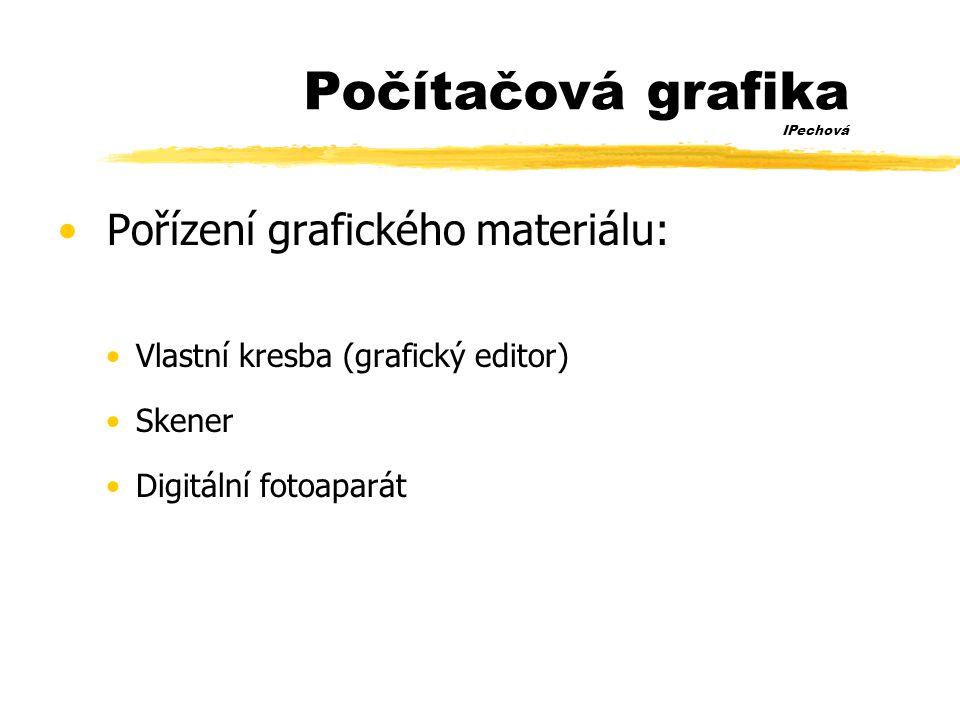 Počítačová grafika IPechová • Pořízení grafického materiálu: •Vlastní kresba (grafický editor) •Skener •Digitální fotoaparát