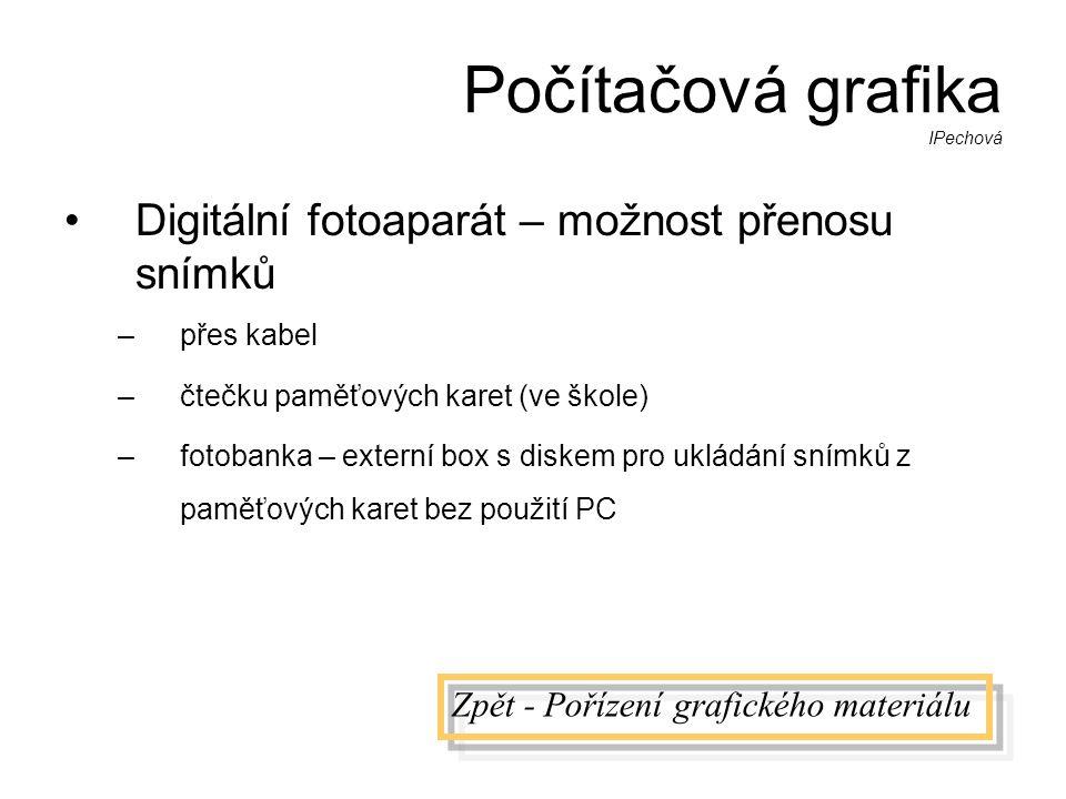 Počítačová grafika IPechová •Digitální fotoaparát – možnost přenosu snímků –přes kabel –čtečku paměťových karet (ve škole) –fotobanka – externí box s diskem pro ukládání snímků z paměťových karet bez použití PC Zpět - Pořízení grafického materiálu