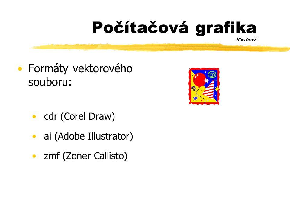 Počítačová grafika IPechová •Formáty vektorového souboru: • cdr (Corel Draw) • ai (Adobe Illustrator) • zmf (Zoner Callisto)