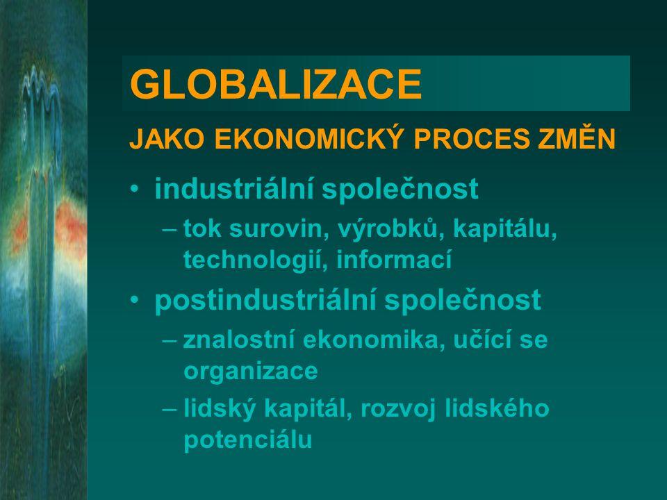 GLOBALIZACE JAKO EKONOMICKÝ PROCES ZMĚN •industriální společnost –tok surovin, výrobků, kapitálu, technologií, informací •postindustriální společnost –znalostní ekonomika, učící se organizace –lidský kapitál, rozvoj lidského potenciálu