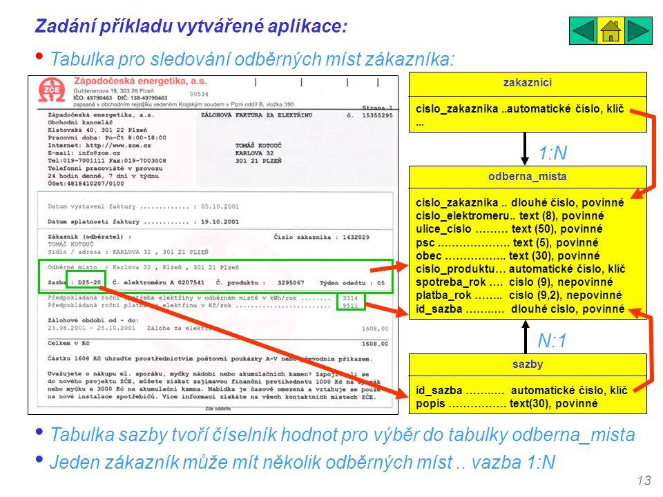 13 Zadání příkladu vytvářené aplikace: • Tabulka pro sledování odběrných míst zákazníka: odberna_mista cislo_zakaznika.. dlouhé číslo, povinné cislo_e