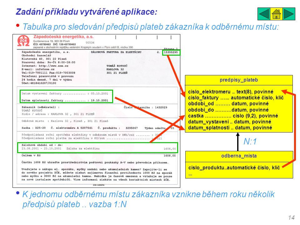 14 Zadání příkladu vytvářené aplikace: • Tabulka pro sledování předpisů plateb zákazníka k odběrnému místu: predpisy_plateb cislo_elektromeru.. text(8