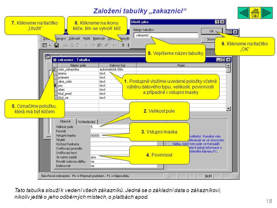 """18 Založení tabulky """"zakaznici"""" Tato tabulka slouží k vedení všech zákazníků. Jedná se o základní data o zákazníkovi, nikoliv ještě o jeho odběrných m"""