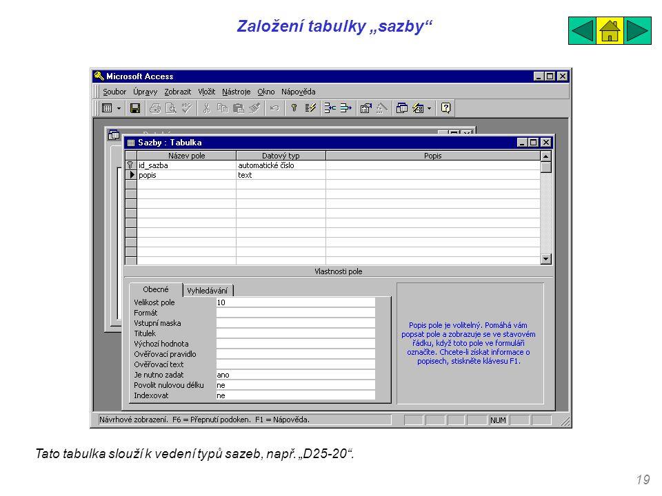 """19 Založení tabulky """"sazby"""" Tato tabulka slouží k vedení typů sazeb, např. """"D25-20""""."""