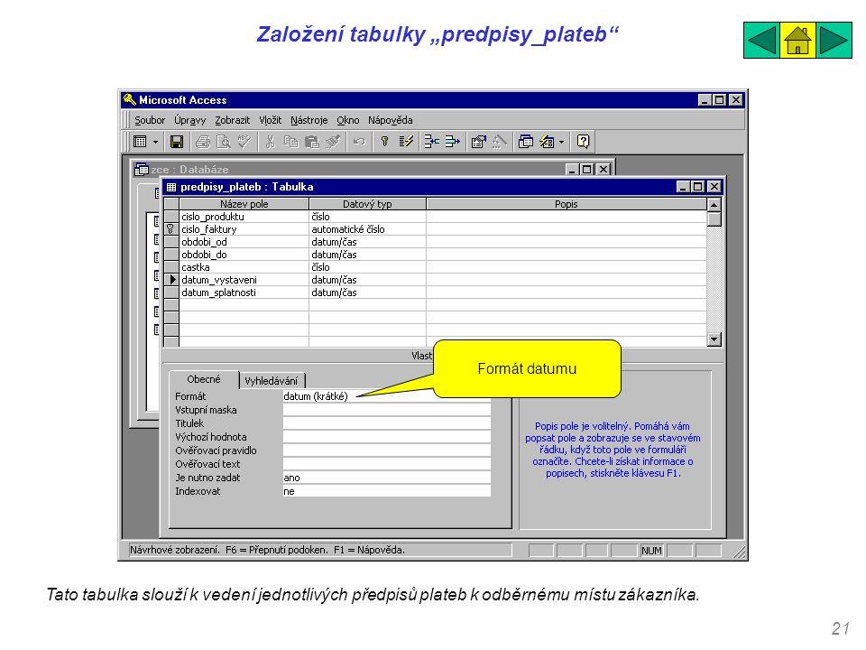 """21 Založení tabulky """"predpisy_plateb"""" Tato tabulka slouží k vedení jednotlivých předpisů plateb k odběrnému místu zákazníka. Formát datumu"""