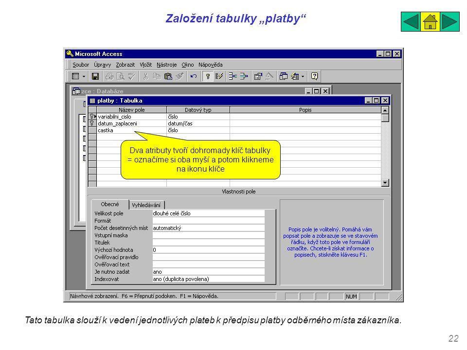 """22 Založení tabulky """"platby"""" Tato tabulka slouží k vedení jednotlivých plateb k předpisu platby odběrného místa zákazníka. Dva atributy tvoří dohromad"""
