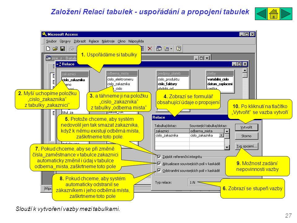27 Založení Relací tabulek - uspořádání a propojení tabulek Slouží k vytvoření vazby mezi tabulkami. 1. Uspořádáme si tabulky 2. Myší uchopíme položku