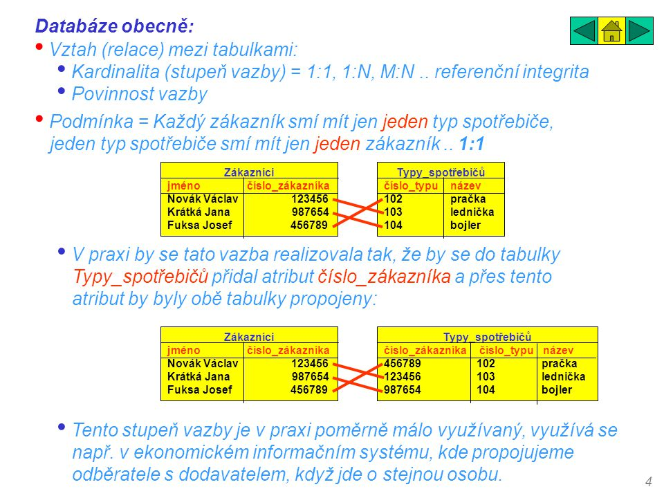 4 Databáze obecně: • Vztah (relace) mezi tabulkami: • Kardinalita (stupeň vazby) = 1:1, 1:N, M:N.. referenční integrita • Povinnost vazby • Podmínka =