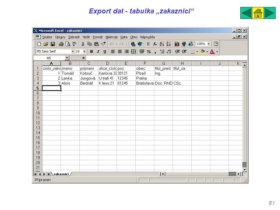 "81 Export dat - tabulka ""zakaznici"""