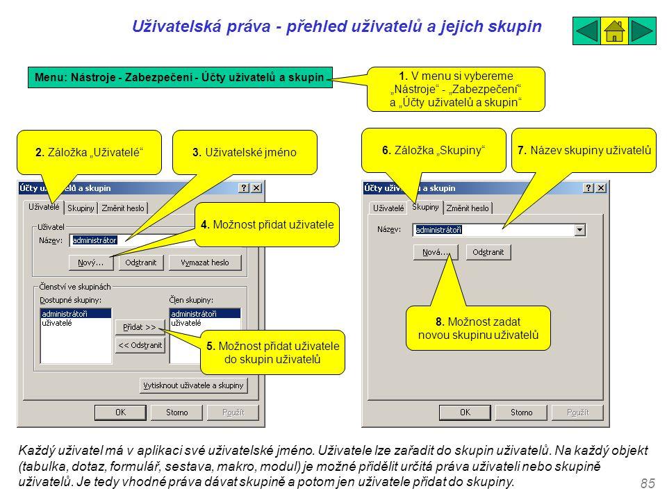 85 Uživatelská práva - přehled uživatelů a jejich skupin Menu: Nástroje - Zabezpečení - Účty uživatelů a skupin 3. Uživatelské jméno 1. V menu si vybe