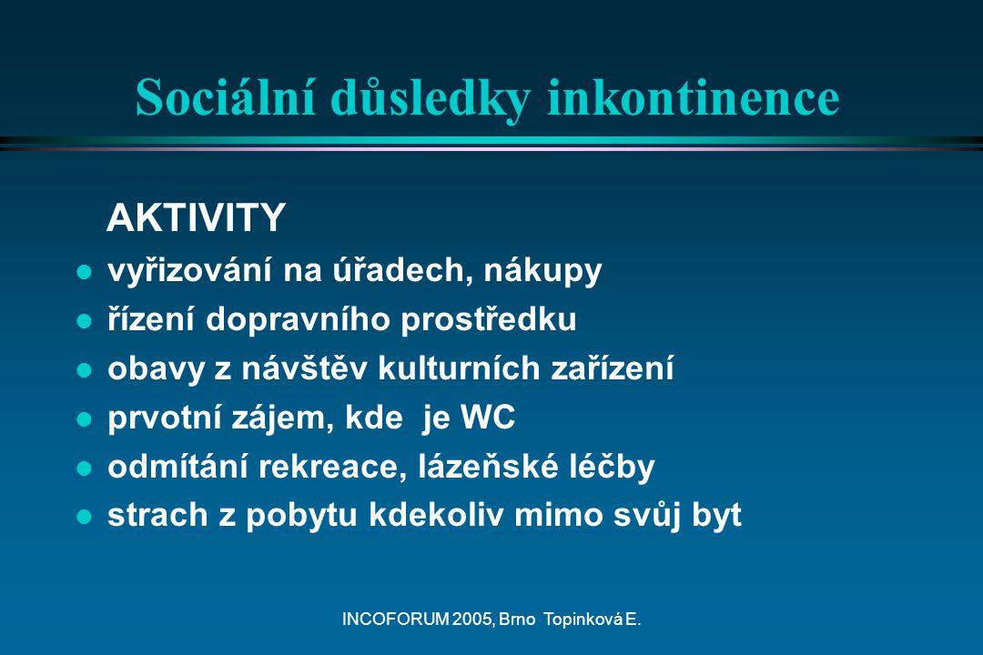 INCOFORUM 2005, Brno Topinková E. Sociální důsledky inkontinence AKTIVITY l vyřizování na úřadech, nákupy l řízení dopravního prostředku l obavy z náv