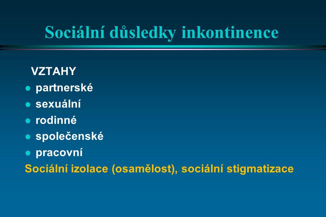 Sociální důsledky inkontinence VZTAHY l partnerské l sexuální l rodinné l společenské l pracovní Sociální izolace (osamělost), sociální stigmatizace