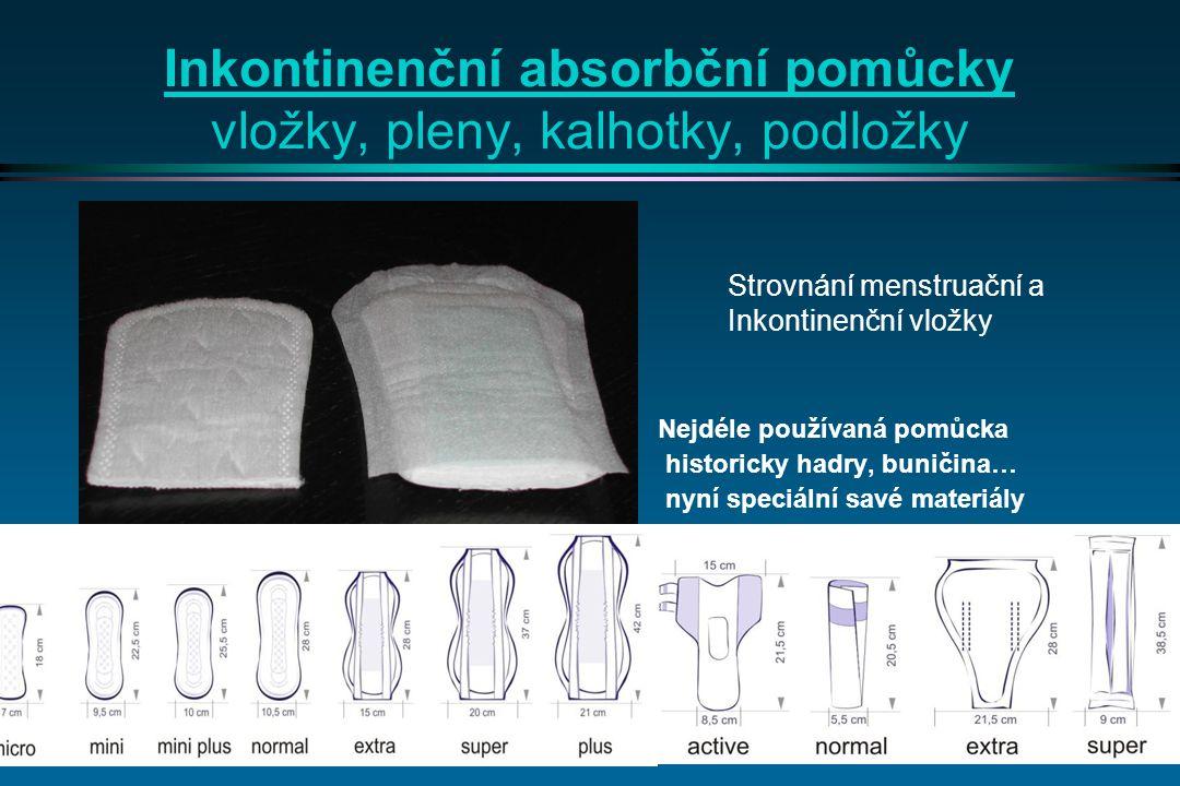 Inkontinenční absorbční pomůcky vložky, pleny, kalhotky, podložky Nejdéle používaná pomůcka historicky hadry, buničina… nyní speciální savé materiály