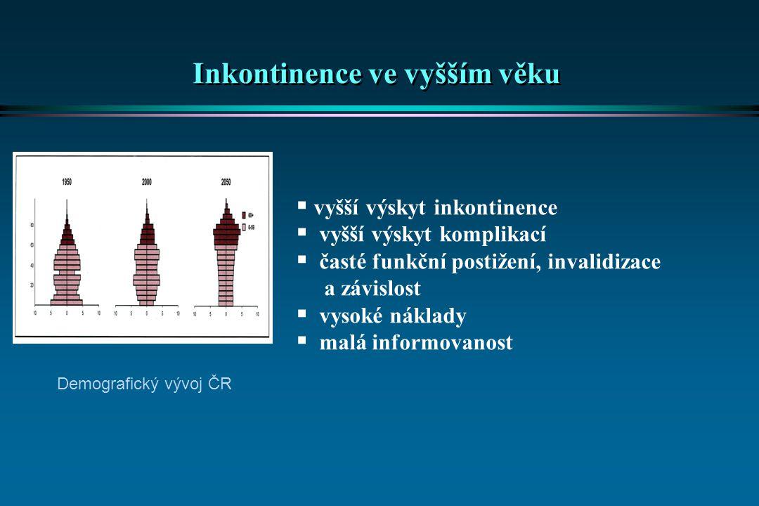Inkontinence ve vyšším věku  vyšší výskyt inkontinence  vyšší výskyt komplikací  časté funkční postižení, invalidizace a závislost  vysoké náklady
