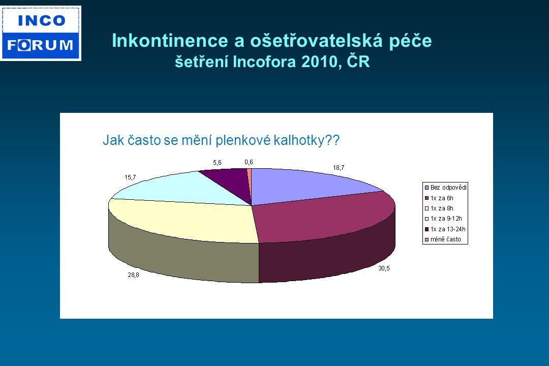 Inkontinence a ošetřovatelská péče šetření Incofora 2010, ČR Jak často se mění plenkové kalhotky??