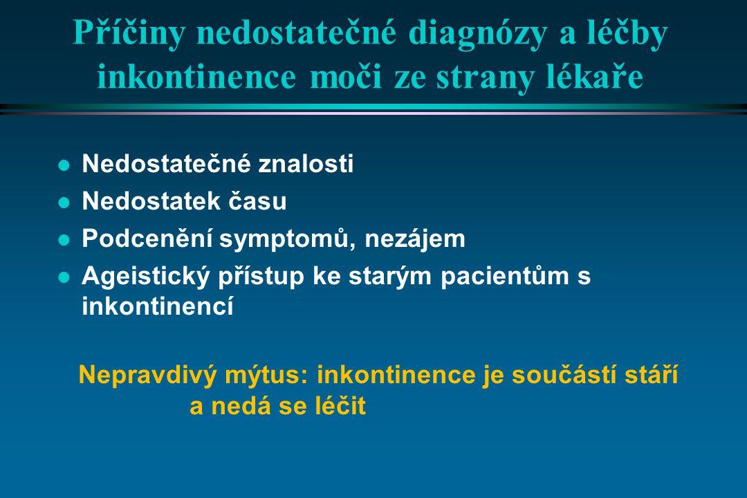 Příčiny nedostatečné diagnózy a léčby inkontinence moči ze strany lékaře l Nedostatečné znalosti l Nedostatek času l Podcenění symptomů, nezájem l Age